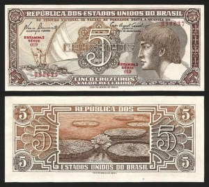 BRASIL .n166a (BRAZIL) - 5 CRUZEIROS 'Índio' (1961) NOVA … Esc.