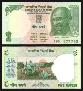 ÍNDIA .n088Ac - 5 RUPIAS 'Gandhi' (2002/08) NOVA