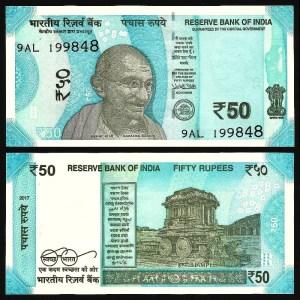 ÍNDIA .n111a - 50 RUPIAS 'Gandhi' (2017) NOVA