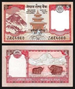 NEPAL .n60b - 5 RUPIAS (2007/10) NOVA