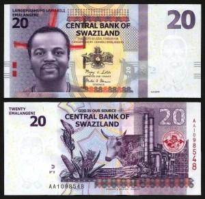 SUAZILÂNDIA .n37a (SWAZILAND) - 20 EMALANGENI (2010) NOVA