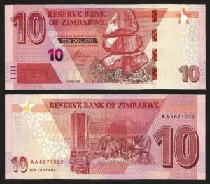 ZIMBABUÉ .n101a (ZIMBABWE) - 10 DOLLARS (2020) NOVA