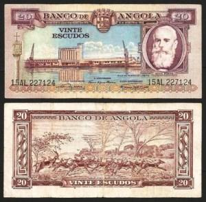 ANGOLA (08)3 - 20 ESCUDOS 'Silva Porto' (1956) CIRC… Esc.