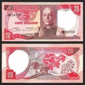 ANGOLA (10)2 - 20 ESCUDOS 'Mar. Carmona' (1972) NOVA