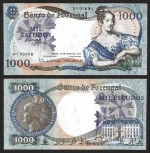 PR64A3. PORTUGAL - 1.000 ESCUDOS 'D. Maria II' Ch.10 (19.05.1967) BELA