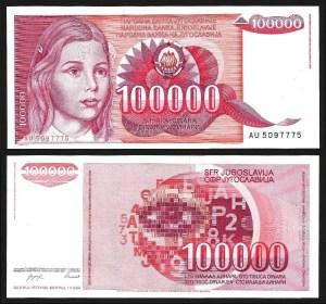 JUGOSLÁVIA .n097 (YUGOSLAVIA) - 100.000 DINARA (1989) NOVA… Esc.
