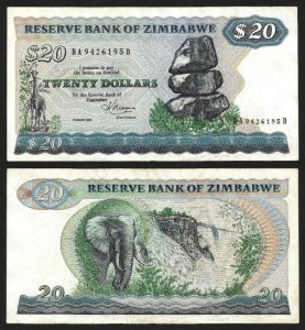ZIMBABUÉ .n004c (ZIMBABWE) - 20 DOLLARS (1983) BELA… Esc.