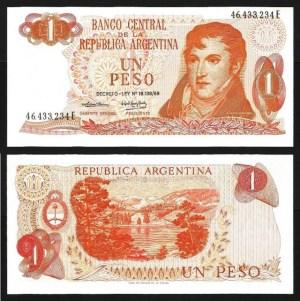 ARGENTINA .n293 - 1 PESO 'M. Belgrano' (Lei 1969/1974) NOVA... Esc.