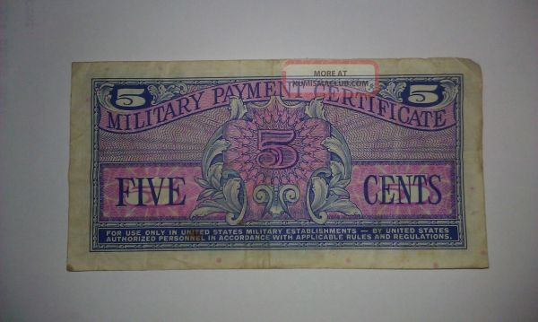 Series 611 5 - Cent Military Payment Certificate