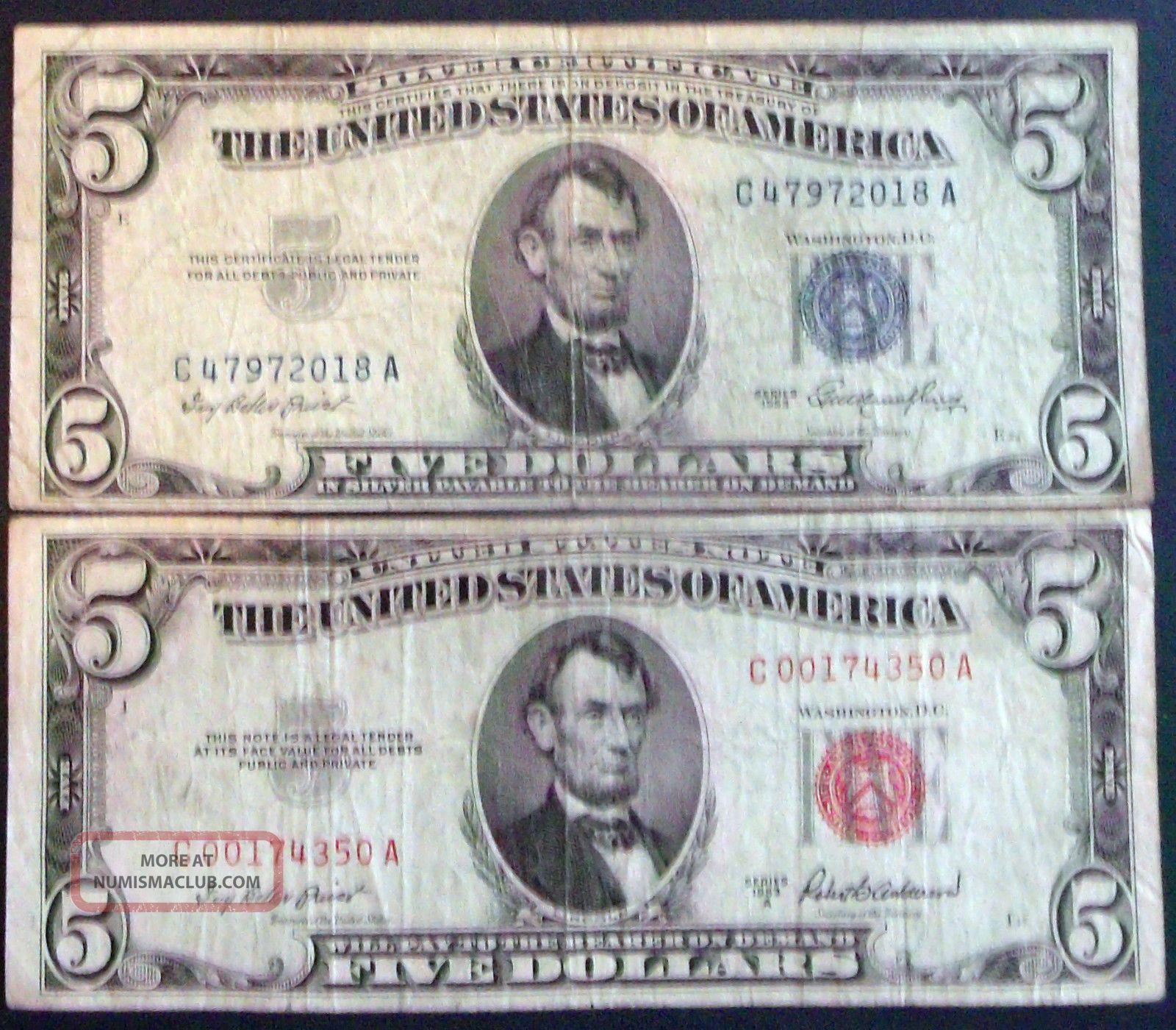 One 5 Silver Certificate Amp One A 5 United States Note C A