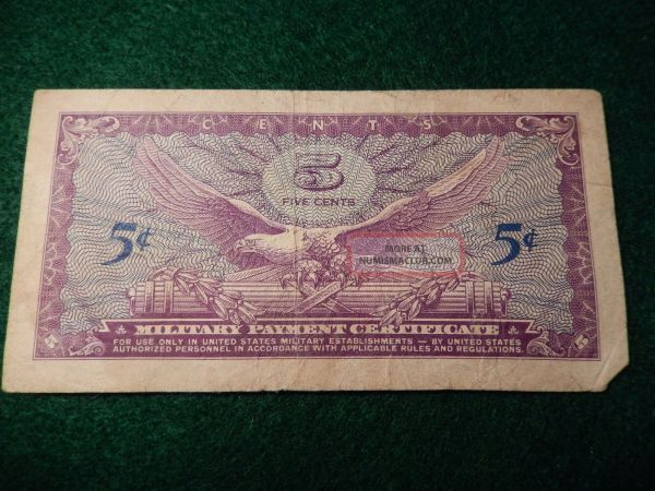 Military Payment Certificate - 5 Cents