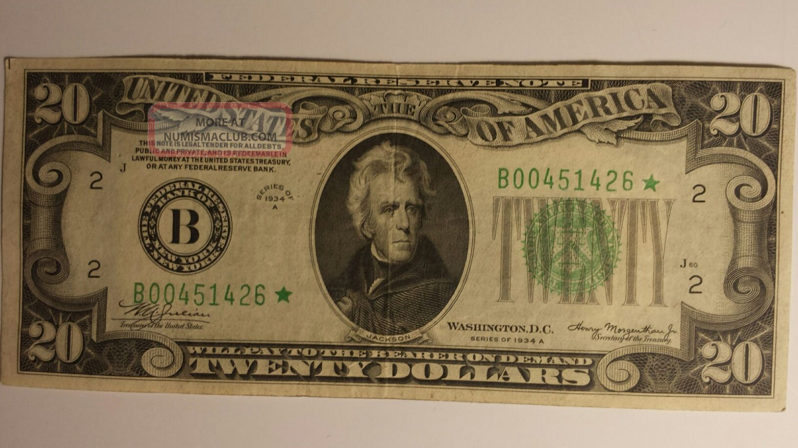 A 20 Dollar Bill Star Federal Reserve Note Old Paper