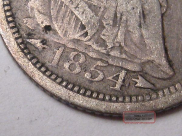 1854 Silver Seated Liberty Dime. With Arrows . 14
