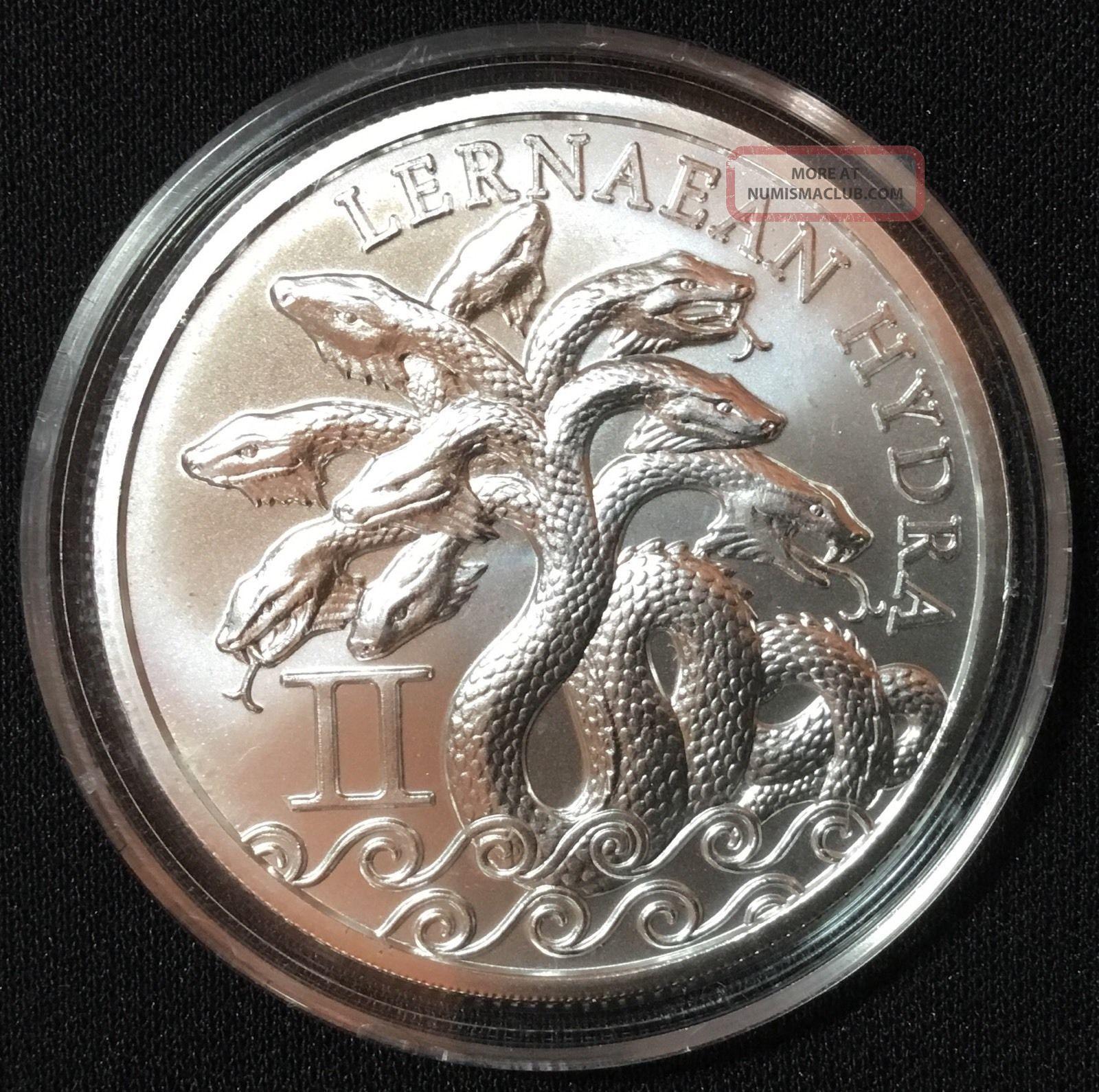 5x 12 Labors Of Hercules Lernaean Hydra 1 Oz 999 Silver