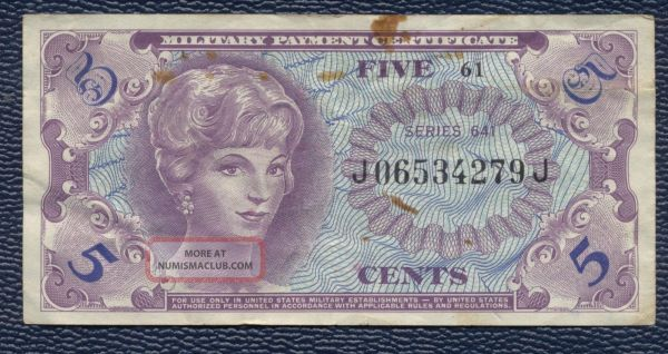 U. . Military Payment Certificate Mpc 5 Cents Series