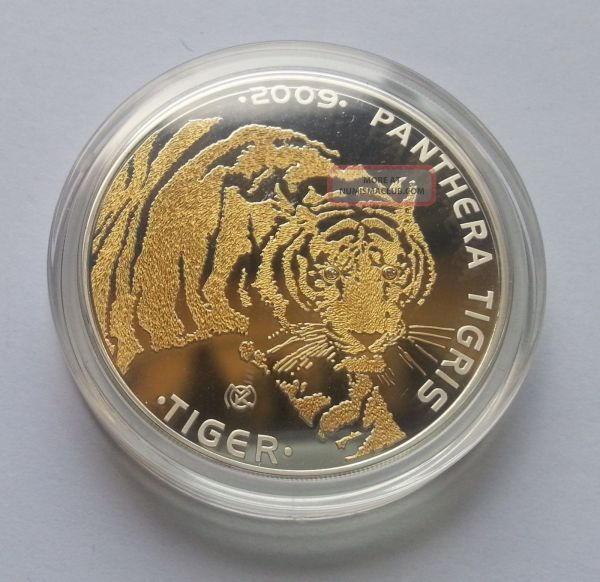Tiger 1oz Gold Gilded Proof Silver Coin Diamonds Eyes 100