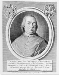 1 - Cardinale Saverio Canale ,Tesoriere Generale di S.R.C. ; Xilografia del 1776 -Archivio Canali.