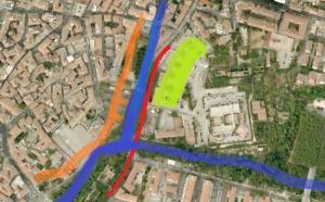 4- Foto satellitare della zona dove sorgeva la Zecca . In Arancione è indicata l'antica cinta muraria ; in Blu il corso del fiume Nera; in Rosso l'attuale via Campofregoso e in Verde la zona approssimativa dove era ubicato l'edificio. Foto Google Earth .