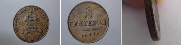 5 centesimi 1846, Milano