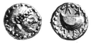 Fig. 19: Nominale d'oro di Cuma D/Testa femminile R/Mitilo; intono ΚΥΜΕ ( SNG Paris 2286 = N. K. Rutter 4, gr. 1,43)