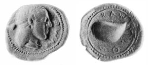 Fig. 21: Didramma focese di Cuma. D/Testa femminile: a destra ΚΥΜΕ R/ Mitilo; intorno ΚΥΜΑΙΟN (London, BM (inventario 1874-7-7 1) = N. K. Rutter 32, gr. 7,80)