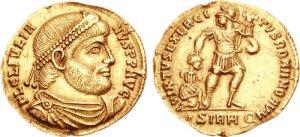 Figura 5) Giuliano II Augusto. 360-363 AD. Æ 27mm (8.11 g, 6 h). Zecca di Costantinopoli. FL CL IVLIAN-VS PF AVG, capo diademato con perle, busto corazzato e drappeggiato rivolto a destra / SECVRITASREIPVB •, Toro stante a destra sormontato da due stelle; •CONSPΔ. RIC VIII 162; LRBC 2058. (www.cngcoins.com)a destra / SECVRITASREIPVB •, Toro stante a destra sormontato da due stelle; •CONSPΔ. RIC VIII 162; LRBC 2058. (www.cngcoins.com)