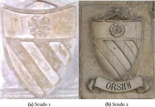 Figura 1: Scudi della famiglia Orsini a confronto con le rose a cinque petali di diverso disegno