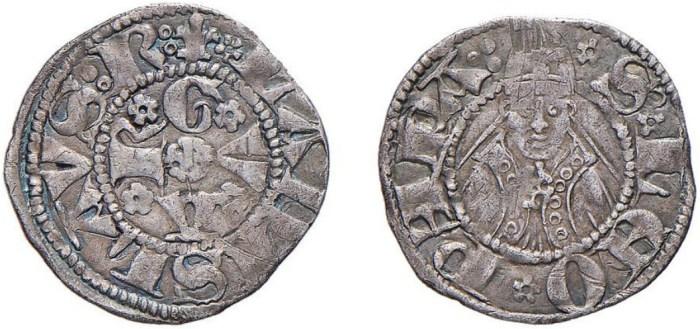 Figura 4: Bolognino di Ladislao di Durazzo con al D e R rosa dello scudo 1 (immagini dal listino della Numismatica Picena 3/2011 lotto 286).