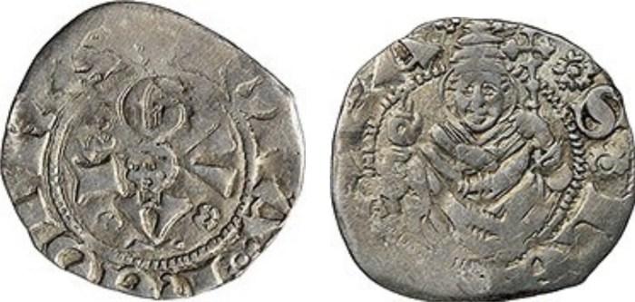 Figura 5: Bolognino di Giovanna II di Durazzo con al D rosa dello scudo 1. (immagini da collezione privata).