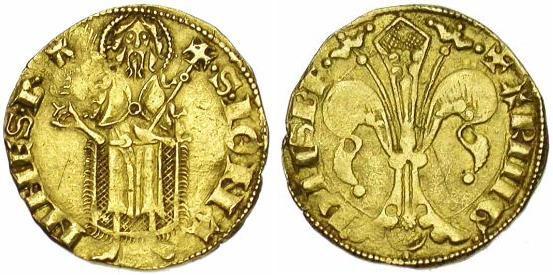 Figura 3: fiorino d'oro, riferimenti bibliografici: Duplessy 1243A, Poey d'Avant 3248 Tutti e due gli autori attribuirono entrambe le tipologie a Gaston XI (1436–1472).