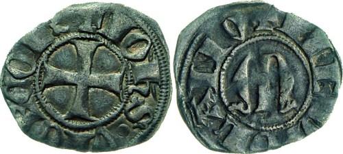 Figura 3: Zecca di Milano Giovanni Visconti (1349-1354) Sesino AG D/ + IOhS VICECOES, croce S/ MEDIOLANV, M gotica Rif.~Crippa 3, MIR 99 Prov.~Asta Numismatica Varesi 54, Collez. Este Milani, 18-19 novembre 2009, lotto 93.