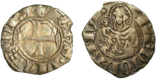 Figura 1:>/b> Zecca di Milano Giovanni Visconti (1349-1354) Sesino AG D/ + IOhS VICECOES, croce R/ MEDIOLANV, la Beata Vergine col Bambino Rif.~Crippa 2, MIR 98 Prov.~Asta Cronos 8, primavera 2014, lotto 139.