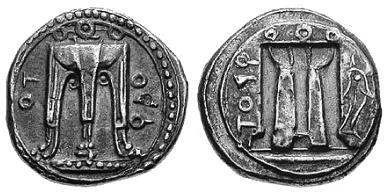 Figura 5 (tripode raffigurato in un nomos d'argento gr 8,4 di Crotone 480-430 a.C.)
