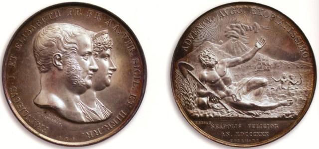 Figura 11: 1830 Per la bonifica delle Puglie (D'Auria 154); D./ FRANCISCVS.I.REGNI VTR.SICIL.ET HIER.REX.P.F.A. Testa del re a destra; in basso, F.REGA.DIR / F.D'ANDREA F. R./ DAVNIA VBERTATI RESTITVTA .Il Re, in abito militare, stante di fronte aiuta ad alzarsi le figure allegoriche della Pastorizia e dell'Agricoltura inginocchiate ai suoi piedi; ai lati, due fanciulli rendono grazie. All'esergo, MDCCCXXX / P.DE ROSA M.P. In basso, A.ARNAUD F. / F.REGA D.