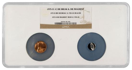 Moeda de 1 centavo americana onde o cunho estava quebrado, esta dentro de uma capsula de certificação da NGC