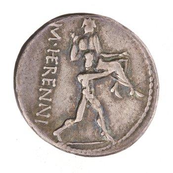 Reverse of Silver Denarius of M. HERENNI, Rome, 108 BC - 107 BC. 2002.46.104