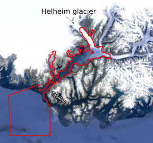 Sermilik Fjord and Helheim glacier satellite image overlaid with the computational domain contour extracted from GSHHS coastline dataset