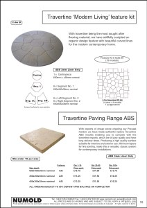 Numold - Moulds for Concrete Products - ABS Price List Page 10 - Travertine