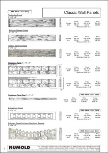 Numold - Moulds for Concrete Products - ABS Price List Page 3 - Classic Wall Panels