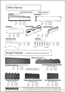 Numold - Moulds for Concrete Products - ABS Price List Page 34 - Utility Edgings