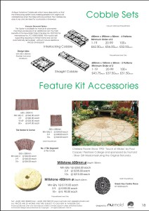 Numold - Moulds for Concrete Products - PU Price List Page 18 - Feature Kit & Cobble Accessories