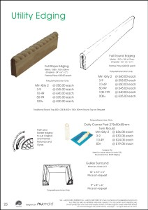 Numold - Moulds for Concrete Products - PU Price List Page 25 - Utility Edgings