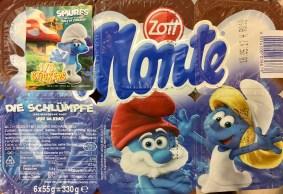 Zotts Monte wirbt auch mit den Schlümpfen und für den Kinofilm - nicht mehr mit entsprechenden Deckelfolien, sondern zusätzlich mit einem aufgeklebten Heftchen.