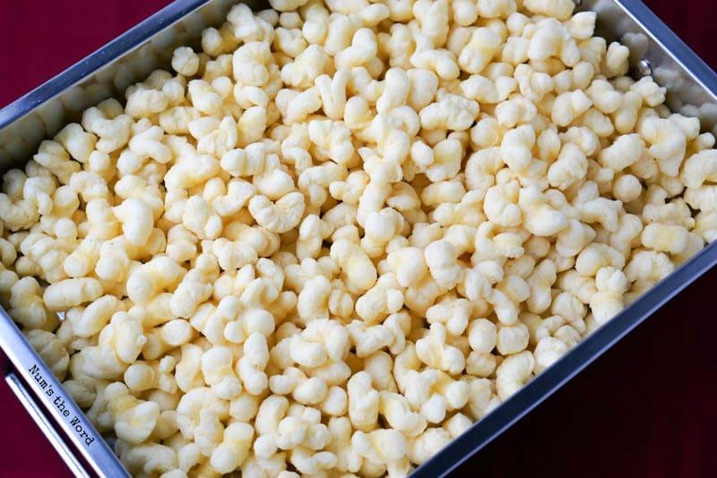 White Chocolate Covered Corn Puffs