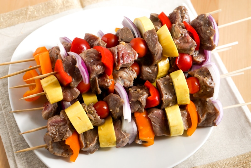 Skewed marinated steak & vegetable kabobs before cooking