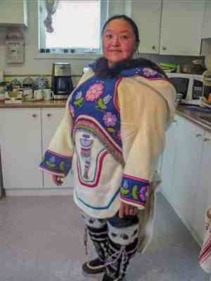 Jeanie Nakashuk<br /> Pangnirtung<br /> 1510Jeanie Nakashuk_st1.jpg<br /> Herself in a beaded amauti.