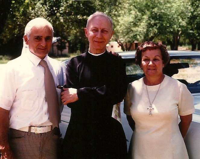 This photo was taken in 1977 at the funeral of our second Mother General, Mother Bernadette, HPB. Father is standing with Mr. and Mrs. Pullano who later joined one of the prayer apostolates for priests that Father Hardon encouraged the Handmaids to start, the Lay Associates of the Priesthood.