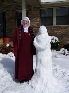 Building a snow nun in Tennessee.