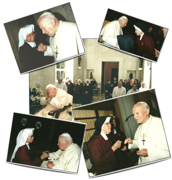 Collage of some of our photo memories of Saint John Paul the Great