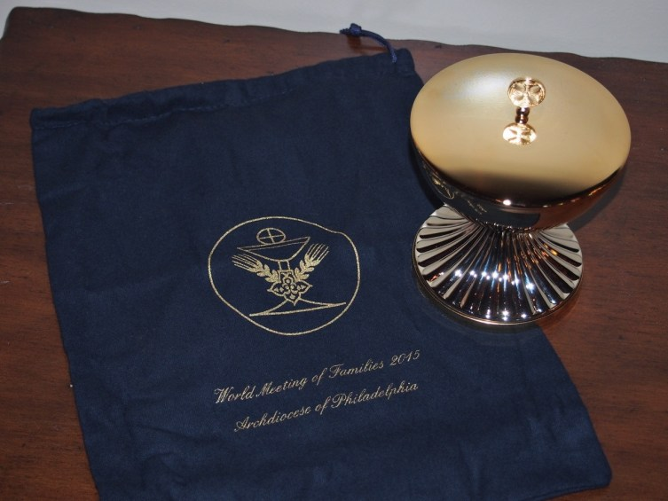 A Ciborium used at the Papal Mass in Philadelphia and presented as a gift from His Eminence Cardinal Rigali